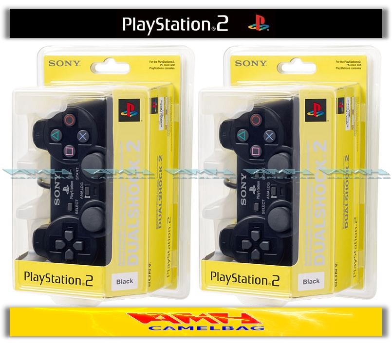 2x-ORIGINAL-SONY-DUALSHOCK-CONTROLLER-SCHWARZ-PS2-NEU-OVP